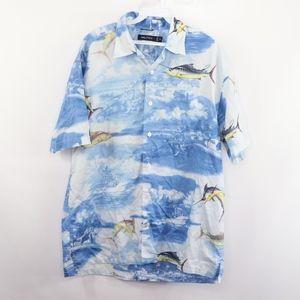90s Nautica Mens Medium Marlin Fish Print Shirt